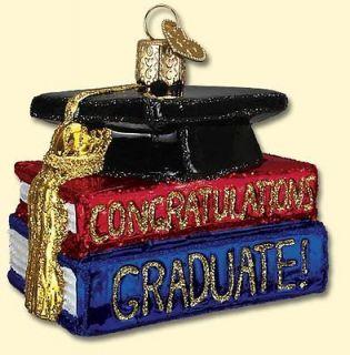 Congrats Graduate Graduation Blown Glass Old World Christmas Ornament