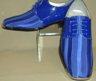 Mens Royal Blue Satin Silvertip Shiny Patent Formal Dress Shoes Bolano