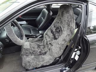Two16MM Car Seat Covers Sheepskin&Synt hetic Fibers Charcoal High Back