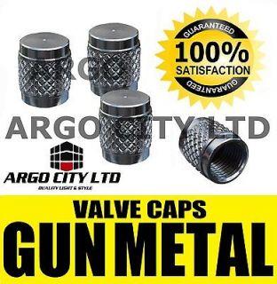 GUN METAL CHROME VALVE DUST TYRE WHEEL CAPS CAR FORD ORION