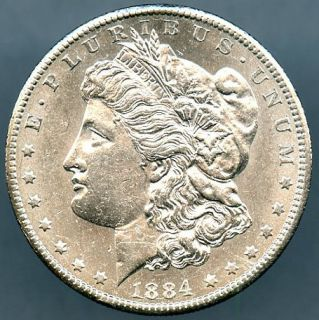 1884 CC Morgan Silver Dollar Almost Uncirculated Lot # 1132