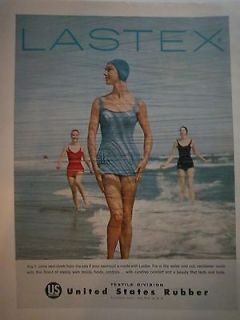 Vintage United States Rubber Swimsuit Swimmit Swim Cap Lastex Color Ad