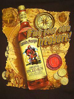 ... BLACK Adjustable Ball Cap Hat  Captain Morgan Original Spiced Rum Mens  T Shirt XL Treasure Map ... c9f2df66da71
