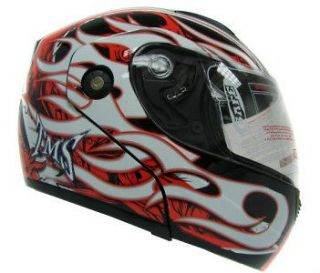 /Red/Whit e Flip Up Modular Full Face Motorcycle Helmet DOT~S/M/L/XL