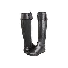 Calvin Klein Marinah Flat Black Leather Riding Boots Knee High FREE