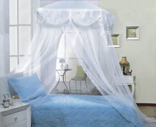 WHITE TRI LACE PRINCESS four corner BED CANOPY MOSQUITO