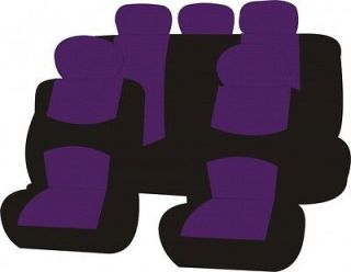 SEMI CUSTOM CAR SEAT COVERS FOR TWO ROW 9PCS BLACK & PURPLE LOW BACK