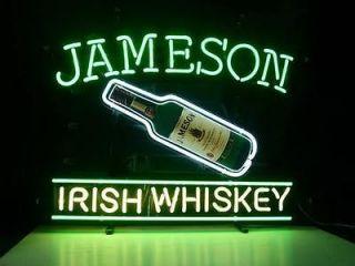 NEW JAMESON IRISH WHISKEY REAL GLASS NEON BEER BAR PUB LIGHT SIGN