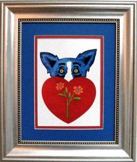 Newly listed GEORGE RODRIGUE BLUE DOG VALENTINE CARD   FRAMED   11 x