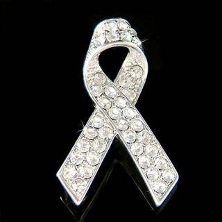 Crystal ~Lung Cancer~ Emphysema Awareness Ribbon Pendant Pin Brooch
