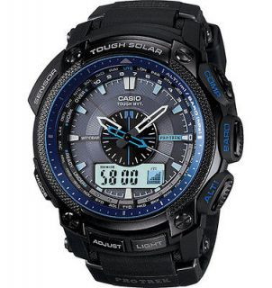 New Casio Protrek Quartz Black Dial Atomic Tough Solar Power Watch