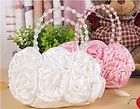 New In Stock Peachy Pink Satin Rosette Wedding Hand bag Clutch Purse
