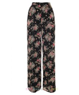 New Womens Flared Wide Leg Floral Chiffon Palazzo Trousers Pants 8 10