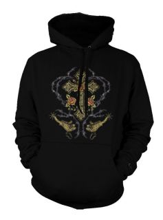 Barbed Wire Carnation Flower Cross Tattoo Cool Hoodie