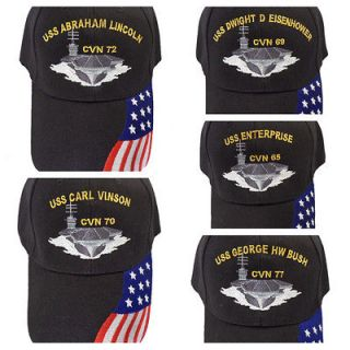 Navy USS Aircraft Carriers Baseball Cap with American Flag