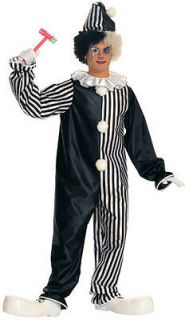 Clown Circus Unisex Black White Dress Up Halloween Adult Costume
