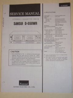 Sansui Service Manual~D 550WR Cassette Deck~Original