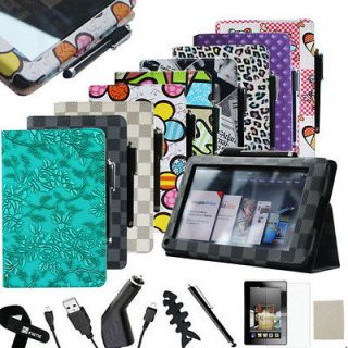 Kindle Fire PU leather Folio Case Cover/Car Charger/USB Cable/Stylus/P