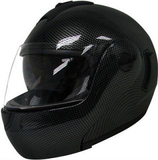 FULL FACE MOTORCYCLE HELMET CARBON FIBER DUAL SHIELD SUN VISOR~M