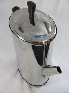 Vintage Retro Chrome Electric GE OVAL PERCOLATOR Coffee Maker Pot