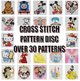 CROSS STITCH PATTERNS CD ROM   DISNEY, CHARACTERS, HELLO KITTY
