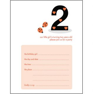 Kids Birthday Party Invitation Template 2 Years Old Girl Ladybug