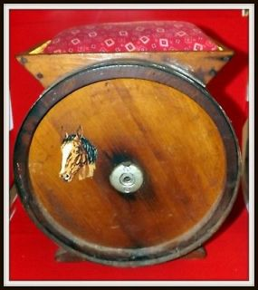 ANTIQUE WOODEN BUTTER CHURN TURNED INTO A STORAGE STOOL W/2 WOODEN