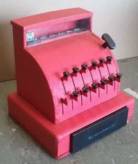 VINTAGE red TOM THUMB CASH REGISTER VERY GOOD CONDITION