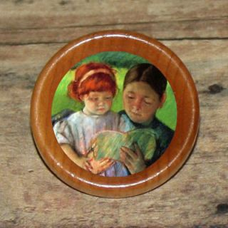 STORY TIME Mother daughter Mary Cassatt Art Tie Tack or Ring or Brooch