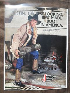1981 Print Ad JUSTIN Western Cowboy Boots STEVE KANALY from DALLAS TV