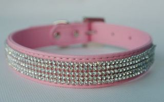 New Bling Full Rhinestone Dog Collars Pet PU Leather Cat Puppy Collars