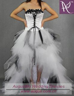 Black and White Tulle Wedding bridal dresses Prom Party Formal ball