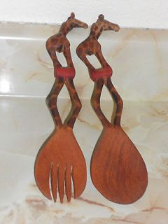 Unique Hand Carved Wooden GIRAFFE Salad Spoon/Fork Set Smooth & Very