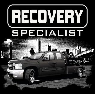 Black T Shirt Recovery Specialists Repo Rebel Tow Truck