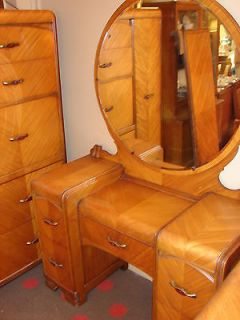 1930s Waterfall Bedroom Suite   5 pieces