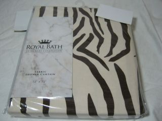 Bath Designer Animal Zebra Print Brown Tan Shower Curtain 72x72 NIP
