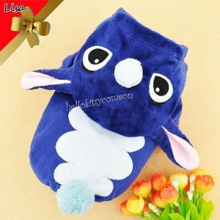 Fashion Dark Blue Dog&Cat Apparel Clothes Ears Hoodie Sweater Coat XXS