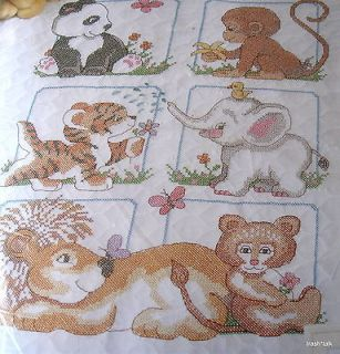 Sunset Baby Quilt Cross Stitch Blanket KIT jungle animal 34x43 stmaped