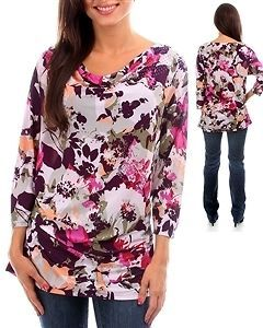 FLOWER SLINKY MISSY PLUS SIZE WOMENS TOP CLOTHING SHIRT TUNIC 1X