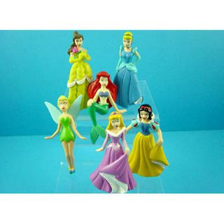 Set of 6 pcs Disney Princess Snow White Belle Tinkerbell 3 Action