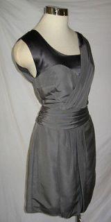 GEREN FORD Cement Silk Faille Charmeuse Draped Panels Mini Dress