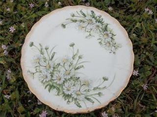 Vtg Royal Crown Daisy Bouquet 9 1/4 Dinner Plate Hand Painted Gold
