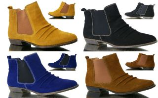 WOMENS HOT NEW LEATHER SUEDE CHELSEA BOOTS SHOES BLACK BLUE YELLOW TAN