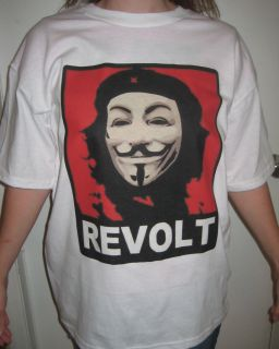 ANON Che Guevara Red REVOLT T shirt Anonymous Occupy Wall Street