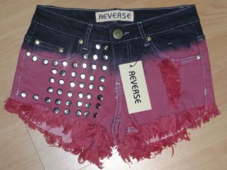 Reverse Womens Cheeky Dip Dye Studded Shorts   Black/Maroon**BNWT**40