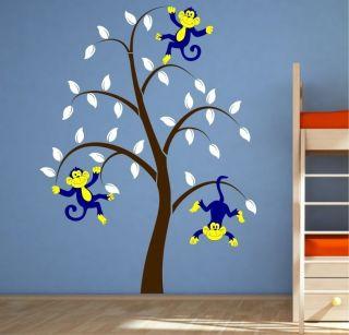 BOYS CHEEKY MONKEY TREE VINYL WALL STICKER NURSERY BEDROOM