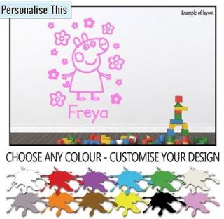 Name Peppa Pig Childrens Girls Wall Art Vinyl Sticker Decal Mural