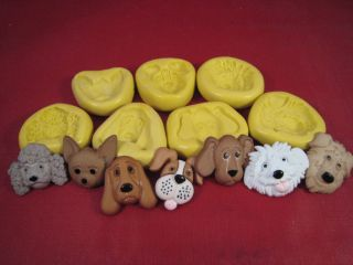 Variety of Dog faces Silicone Molds Gumpaste Fondant Cake Chocolate