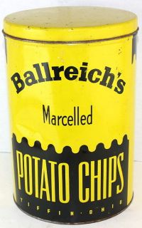 1940s Ballreichs Marcelled Potato Chips 1 LB. Tiffon, OHIO Tin Can