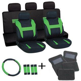 20pc Set Green Black TRUCK Seat Covers Steering Wheel+Belt Pad + Gray